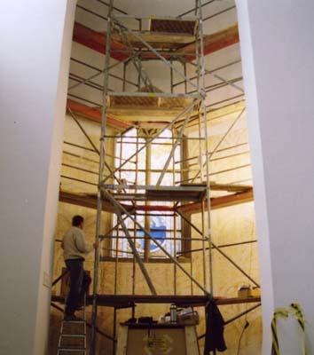 Arbeit an der Malerei in St. Pantaleon, Köln