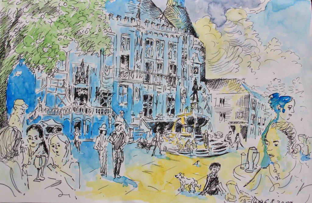 Colorierte Zeichnung